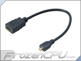 Akasa HDMI Female to Micro HDMI Male Adapter Cable - 250mm (AK-CBHD09-25BK)