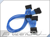 ModRight CableRight Single Braid 4-Pin to Quad SATA Connector Adapter - Blue