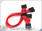 ModRight CableRight Single Braid 4-Pin to Quad SATA Connector Adapter - Red