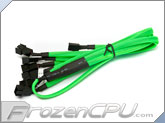 Phobya Y Cable Splitter - 3-Pin to 6x 3-Pin - UV Green