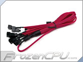 Phobya Y Cable Splitter - 3-Pin to 6x 3-Pin - UV Red
