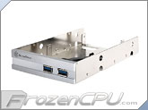 "Silverstone 3.5"" Bay Dual USB 3.0 and Dual 2.5"" HDD / SSD Adapter - Silver (SST-FP36S)"