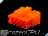 FrozenCPU ConnectRight 10-Pin Male PSU Power Connector - Corsair / Seasonic - UV Brite Orange