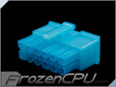 FrozenCPU ConnectRight 12-Pin Male PSU Power Connector - Corsair / Seasonic - UV Aqua Blue