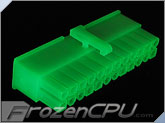 FrozenCPU ConnectRight 24-Pin Female ATX Power Connector - Green UV