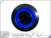 "Blue Illuminated Vandal Resistant ""Latching"" Switch - 16mm - Black Housing - Ring Illumination"