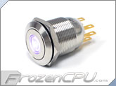 "UV Illuminated Vandal Resistant ""Momentary"" Switch - 16mm - Silver Housing - Dot Illumination"