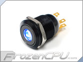"Blue Illuminated Vandal Resistant ""Momentary"" Switch - 16mm - Black Housing - Dot Illumination"