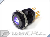 "UV Illuminated Vandal Resistant ""Momentary"" Switch - 16mm - Black Housing - Dot Illumination"