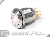 "Red Illuminated Vandal Resistant ""Momentary"" Switch - 22mm - Silver Housing - Dot Illumination"