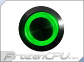 "Green Illuminated Vandal Resistant ""Latching"" Switch - 16mm - Black Housing - Ring Illumination"
