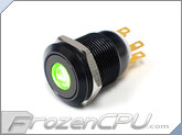 "Green Illuminated Vandal Resistant ""Latching"" Switch - 16mm - Black Housing - Dot Illumination"