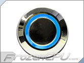 "Blue Illuminated Vandal Resistant ""Latching"" Switch - 22mm - Silver Housing - Ring Illumination"