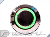 "Green Illuminated Vandal Resistant ""Latching"" Switch - 22mm - Silver Housing - Ring Illumination"