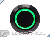 "Green Illuminated Vandal Resistant ""Momentary"" Switch - 16mm - Black Housing - Ring Illumination"