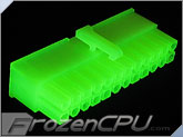 FrozenCPU ConnectRight 24-Pin Female ATX Power Connector - UV Brite Green