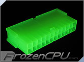 FrozenCPU ConnectRight 24-Pin Male ATX Power Connector - UV Brite Green