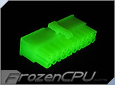 FrozenCPU ConnectRight 20-Pin Female ATX Power Connector - UV Bright Green