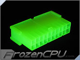 FrozenCPU ConnectRight 20-Pin Male ATX Power Connector - UV Bright Green