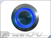 "Blue Illuminated Vandal Resistant ""Momentary"" Switch - 22mm - Silver Housing - Ring Illumination"