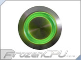 "Green Illuminated Vandal Resistant ""Momentary"" Switch - 22mm - Silver Housing - Ring Illumination"