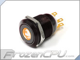 "Orange Illuminated Vandal Resistant ""Momentary"" Switch - 22mm - Black Housing - Dot Illumination"