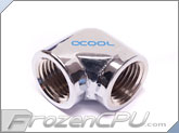 Alphacool G1/4 90� Low Profile Female to Female Fitting Adapter - Chrome