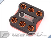"Monsoon Free Center Compression Fitting - 3/8""ID x 1/2""OD - Modders 6 Pack Orange (FCC-3812-6P-OR)"