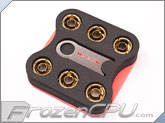 "Monsoon Free Center Compression Fitting - 7/16""ID x 5/8""OD - Modders 6 Pack Gold (FCC-71658-6P-GO)"