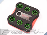 "Monsoon Free Center Compression Fitting - 3/8""ID x 1/2""OD - Modders 6 Pack Green (FCC-3812-6P-GR)"