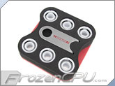 "ModMyToys Red Carbon Fiber Enhanced Compression Fitting - 7/16""ID x 5/8""OD - Modders 6 Pack White (MMT-CFF-WH-RD-71658-6)"