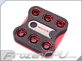 "ModMyToys Carbon Fiber Enhanced Compression Fitting - 7/16""ID x 5/8""OD - Modders 6 Pack Red (MMT-CFF-RD-BK-71658-6)"