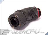 "Bitspower G1/4 Thread 3/8"" ID x 1/2"" OD 45-Degree Dual Rotary Compression Fitting - Carbon Black (BP-CB45R2CPF-CC2)"