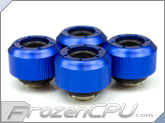 "PrimoChilll 1/2"" OD Rigid Revolver Compression Straight Knurled Fittings - 4 Pack - Anodized Blue"