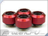 "PrimoChilll 1/2"" OD Rigid Revolver Compression Straight Knurled Fittings - 4 Pack - Anodized Red"