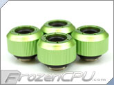 "PrimoChilll 1/2"" OD Rigid Revolver Compression Straight Knurled Fittings - 4 Pack - Anodized Green"