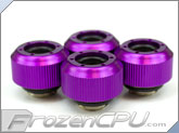 "PrimoChilll 1/2"" OD Rigid Revolver Compression Straight Knurled Fittings - 4 Pack - Anodized Purple"