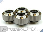 "PrimoChilll 1/2"" OD Rigid Revolver Compression Straight Knurled Fittings - 4 Pack - Nickel Plated Brass - Black"