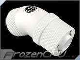 "Bitspower G1/4 Thread 3/8"" ID x 1/2"" OD 45-Degree Dual Rotary Compression Fitting - White (BP-DW45R2CPF-CC2V2)"