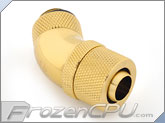 "Bitspower G1/4 Thread 3/8"" ID x 1/2"" OD 45-Degree Dual Rotary Compression Fitting - True Brass (BP-TB45R2CPF-CC2V2)"