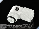 "Bitspower G1/4"" Deluxe White Dual RotaryAngle Compression Fitting CC6 Ultimate ForID 7/16"" OD 5/8"" Tube (BP-DW90R2LCPF-CC6U)"
