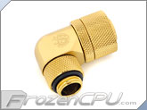 "Bitspower G1/4 Thread 7/16"" ID x 5/8"" OD 90-Degree Rotary Compression Fitting - True Brass (BP-TB90R2LCPF-CC6)"