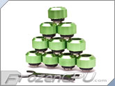 "PrimoChilll 1/2"" OD Rigid Revolver Compression Straight Knurled Fittings - 10 Pack - Anodized Green"