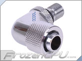 "Alphacool G1/8 to IG1/4 Thread Discharge 90° Pump Adapter to 3/8"" ID x 1/2"" OD Compression Fitting - Chrome (13145) (Eheim 1046 / 1048 / Aquastream)"