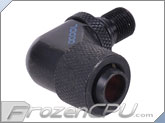 "Alphacool G1/8 to IG1/4 Thread Discharge 90° Pump Adapter to 3/8"" ID x 1/2"" OD Compression Fitting - Deep Black (13146) (Eheim 1046 / 1048 / Aquastream)"