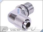 "Alphacool G3/8 to IG1/4 Thread Intake 90° Pump Adapter to 3/8"" ID x 1/2"" OD Compression Fitting - Chrome (13151) (Eheim 1046 / 1048 / Aquastream)"