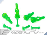 Deluxe Rubber Fan Push Pins for Open Chassis Fan - UV Green - 4 Pack