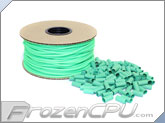 "Mod/Smart Kobra High Density Single Braid Sleeving Kit 1/8"" - 200 Feet UV Green Sleeving / 125 Precut 15mm Green Heatshrink (SPOOL18-UG-15mm)"