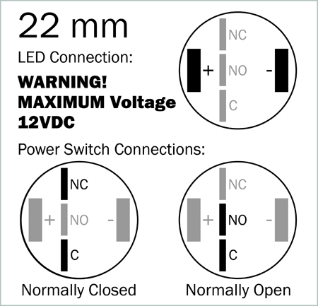 blue illuminated vandal resistant momentary switch 22mm please be very careful the power you apply to the led we cannot accept any returns of switches that have a burnt out led max voltage is 12v